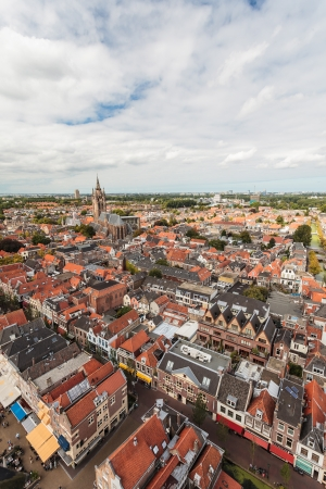Wide angle aerial view of the Dutch town Delft Stock Photo - 15047061