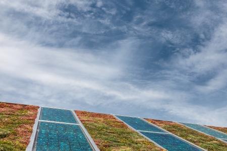 Sonnenkollektoren auf einem neuen Dach mit grünen und roten Sedum zur Isolierung und Heizung abgedeckt