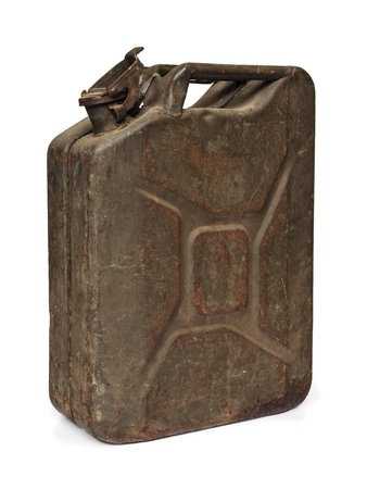 petrol can: Vintage army fuel jerrycan isolated on a white background