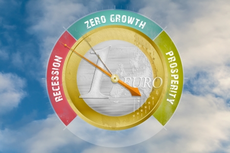 barometer: Economic barometer indicates an European recession; concept of the problems with the euro Stock Photo