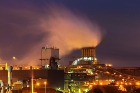 carbon emission: Industry plant at night in The Netherlands