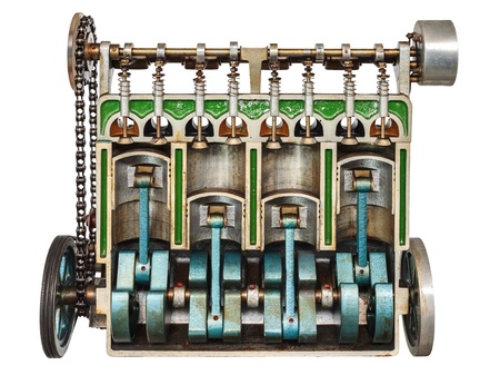 cylinder block: Vintage model of a classic car engine with focus on pistons used for education purposes Stock Photo