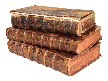 seventeenth: Stack of three seventeenth century antique books isolated on white