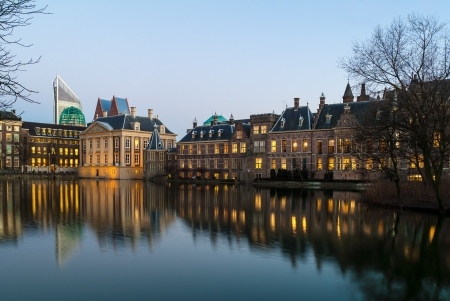 The Dutch Parliament buildings in The Hague during sunset