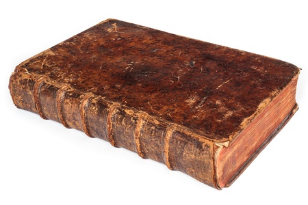 Single seventeenth century antique book isolated on a white background  Stock Photo - 16180349
