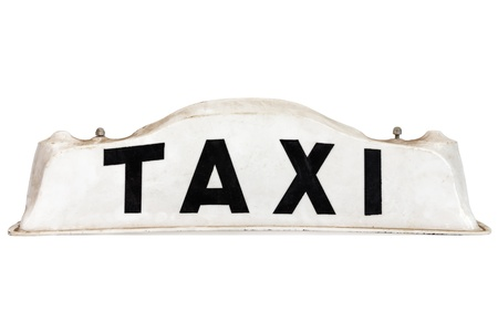 White taxi roof sign isolated on a white background Stock Photo - 16179288