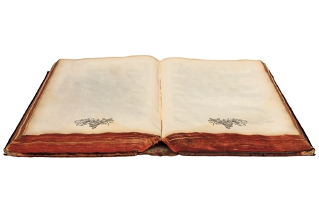 seventeenth: Seventeenth century book with empty pages isolated on a white background Stock Photo