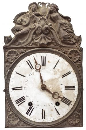 Vintage nineteenth century clock isolated on white Stock Photo - 16431152