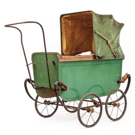buggy: Nineteenth Century baby pram isolated on a white background