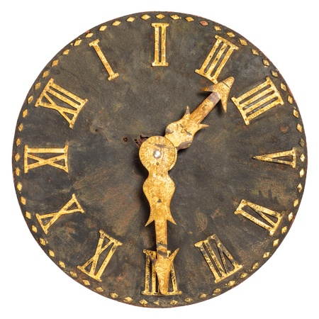 timepiece: Ancient large church clock face isolated on a white background Stock Photo