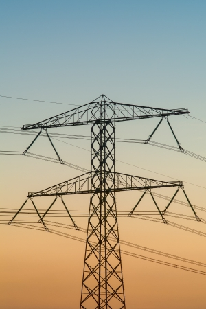 Electricity tower during sunset in The Netherlands Stock Photo - 16627669