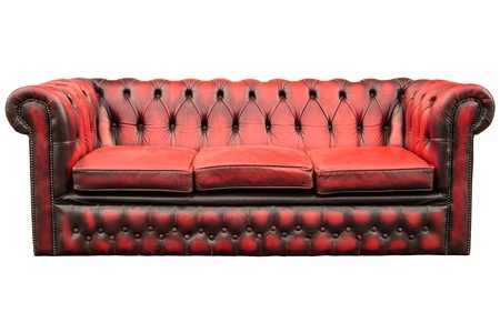 old sofa: Vintage red with black sofa isolated on a white background