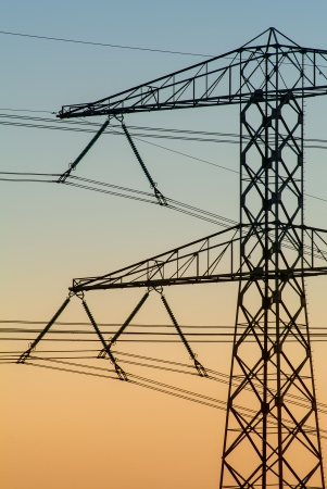 Electricity tower during sunset in The Netherlands Stock Photo - 16752389