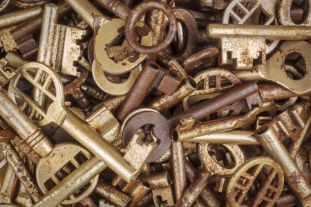 Assortment of different rusty antique keys Stock Photo - 17223667