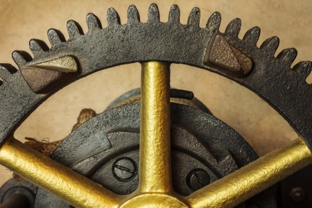 Gearwheels of a renovated vintage church clock Stock Photo - 17538416