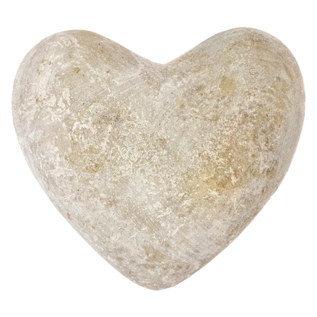 Stone grey heart shape isolated on a white background