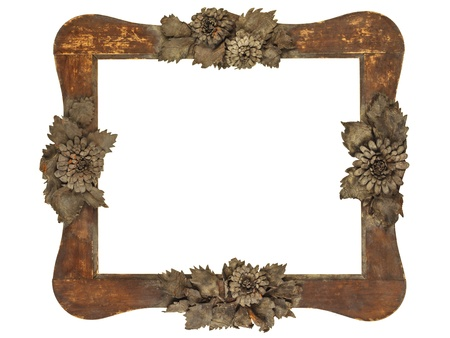 Ancient picture frame with wood cut grey flowers isolated on a white background Stock Photo - 17705529