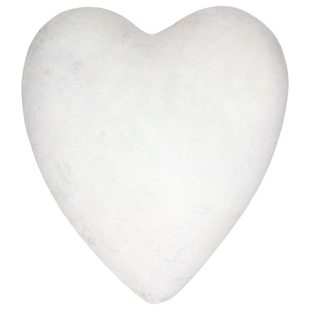 heart of stone: White stone heart shape isolated on a white background