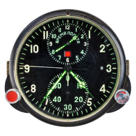 altimeter: Vintage Russian airplane altitude meter isolated on a white background Stock Photo