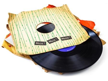 Collectie van oude vinyl record lp Stockfoto