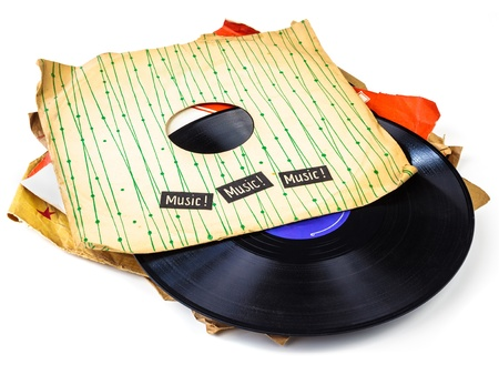 record label: Collection of old vinyl record lp