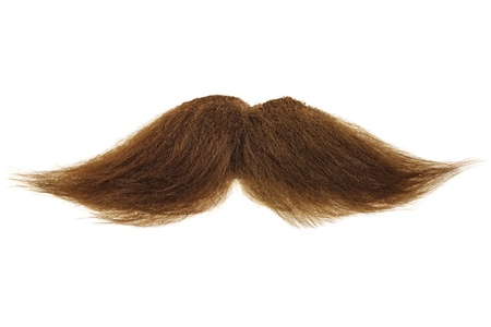 Curly brown mustache isolated on a white background