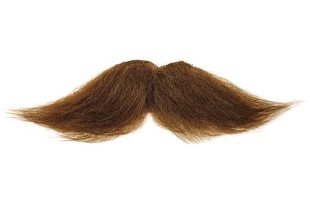 bigote: Rizado bigote casta�o aislado en un fondo blanco Foto de archivo
