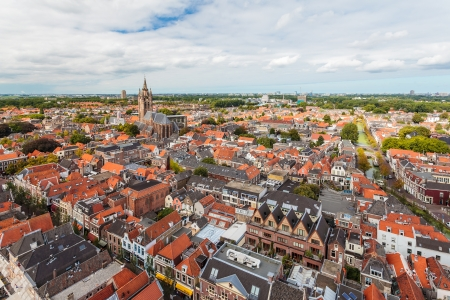 Aerial view of the historic city Delft in The Netherlands Stock Photo - 17967632