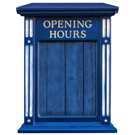 shop opening hours: Wooden old blue opening hours sign isolated on a white background