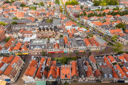Aerial view of the historic city Delft in The Netherlands Stock Photo - 18033101