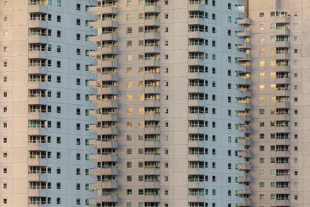housing problems: Concrete Dutch apartment buildings in the city of Rotterdam Stock Photo