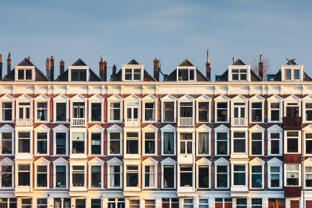 Row of Dutch old white houses in Rotterdam city Stock Photo - 18312659
