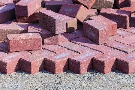 Red bricks on a construction site of a new pavement Stock Photo - 18546996