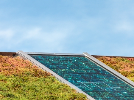 Solar panels on a new roof covered with green and red sedum for isolation and heating photo