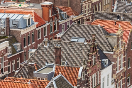 Aerial view of houses of the historic city Delft in The Netherlands Stock Photo - 18928948
