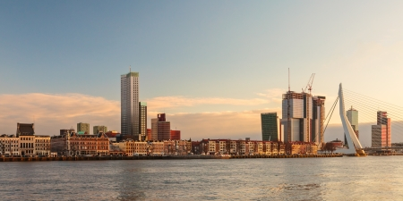 Panorama of the river skyline of the Dutch harbor city Rotterdam