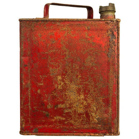 Vintage red fuel can isolated on a white background photo