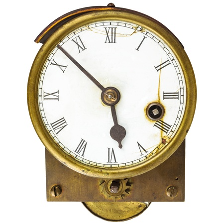 heat register: Vintage English gas meter isolated on a white background