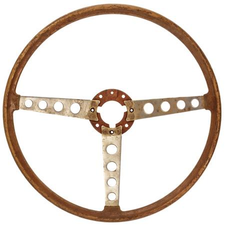 Antique en bois classique volant de voiture isolé sur un fond blanc