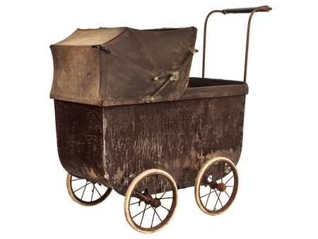 19th century: Nineteenth Century brown baby pram isolated on a white background