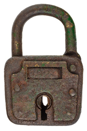 padlocks: Antique brown rusted metal padlock isolated on a white background Stock Photo