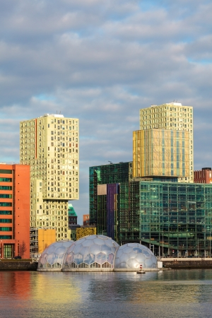 rotterdam: Cityscape of the Dutch city Rotterdam with large colorful office towers Stock Photo