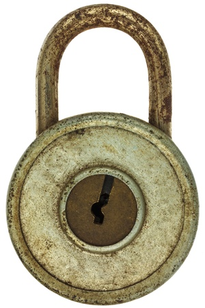 Vintage corroded padlock with decorated keyhole isolated on a white background Stock Photo - 19795876