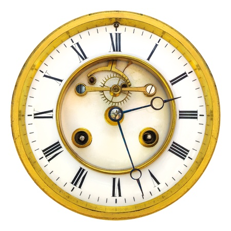 Ancient golden partly open clock face isolated on a white background