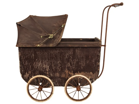 buggy: Side view of a nineteenth century brown baby pram isolated on a white background
