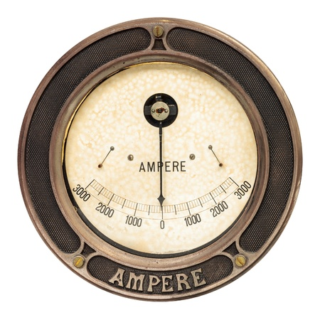 multimeter: Vintage round analog ampere meter isolated on a white background Stock Photo