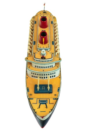 luxury liner: Antique toy cruise ship isolated on a white background Stock Photo