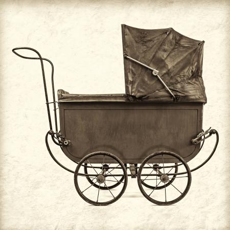 Rétro image sépia style d'une poussette de bébé millésime
