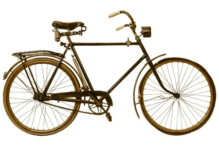 retro bicycle: Imagen de estilo retro de una bicicleta del siglo XIX aislado en un fondo blanco