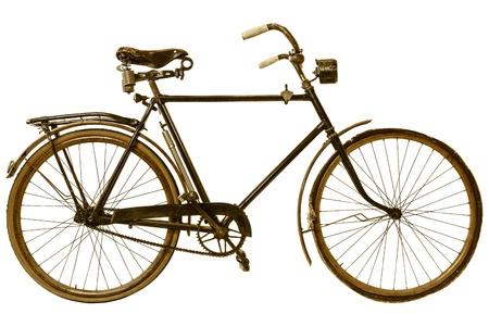 fiets: Retro gestileerde afbeelding van een negentiende-eeuwse fiets die op een witte achtergrond Stockfoto